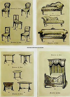 Victorian furniture Chair Bed Table designs Illustrated Catalog Art collage CD
