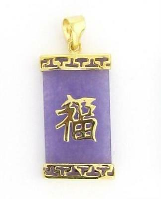 Exquisite purple jade 18K GP Good Luck Pendant Necklace chain free shipping