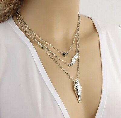 New Fashion Combined Elements Punk Necklace Heart Angel Wings Multilayer Gift