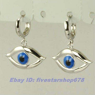 "1.06"" UNIQUE 18K WHITE GOLD PLATED EVIL EYE DANGLE EARRING SOLID FILL GEP GP EAR"