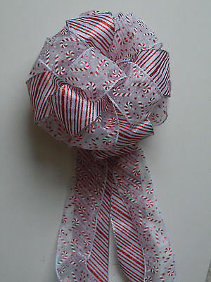 RED WHITE CANDY CANE PEPPERMINT CHRISTMAS BOW TREE TOPPER BOW WINTER HOLIDAYS