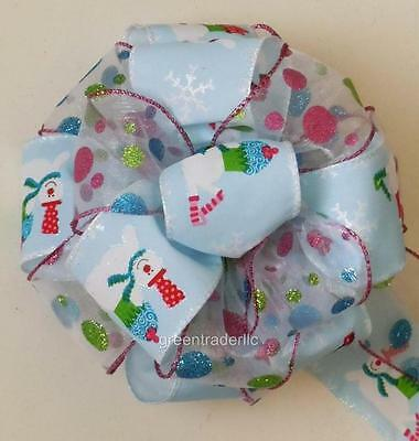 Red Green Blue Polka Dots White Snowman Bow Christmas Tree Bow Gift topper Bow