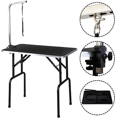 35'' x 21.7'' Adjustable Pet Dog Cat Grooming Table W/Arm&Noose Rubber Mat