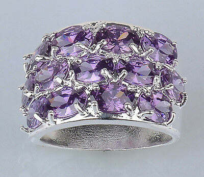 J1135 SIZE 6 BRAND NEW LADY'S AMETHYST GEM SILVER  RING