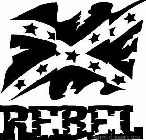 Car and Truck vinyl decal REBEL WITH CONFEDERATE FLAG (ANY COLOR)