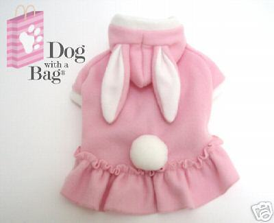 Pink Bunny Easter Dress Hallween Chihuahua Fleece Dog Pajama Clothes Small