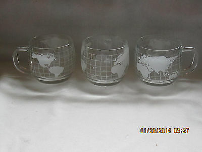 World Globe Cups / Mugs with World Map Etched on Sides - Set of 3