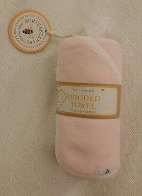 Burt's Bees Baby Hooded Bath Towel 100% Organic Cotton Pink
