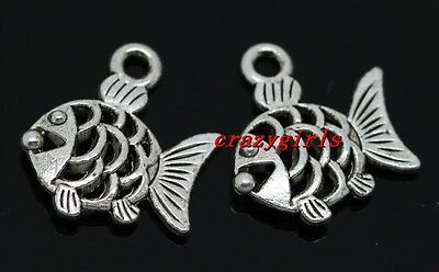50pcs 16mm Charms Fish Tail Tibet Silver Pendants Connectors DIY Jewelry A7715