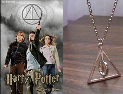 Fashion Film Harry Potter Deathly Hallows Charm Necklace Rotatable Circle Gift