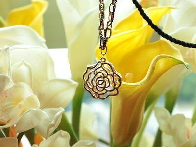 Fashion girl clear crystal gold plated rose pendant black hemp long necklace #41