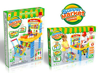 Large 2-1 Grocery Food Store Supermarket Shopping Trolley Toy Pretend Play Set