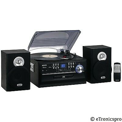 JTA-475 3 SPEED JENSEN RECORD CD CASSETTE PLAYER TURNTABLE HOME STEREO SYSTEM