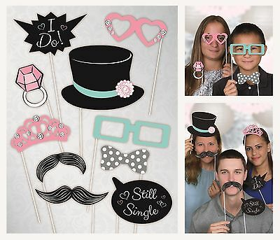 Wedding Photo Props   Photo Booth   Party   Top Hat   Ring   10 Props 1-5pk