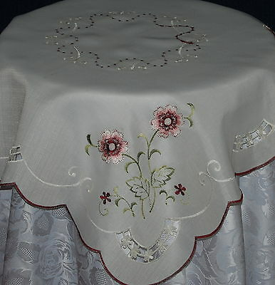 Small Square White Polyester Embroidered With Pink And Burgundy Flowers Table