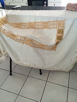 Antique Hand Embroidered linen tablecloth vintage