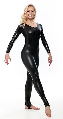 Ladies Shiny Metallic Halloween Fancy Dress Catwomen Long Sleeve Catsuit KDC012