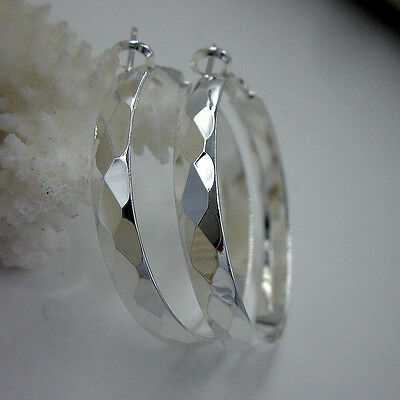 Women's Shiny 925 Sterling Silver 37mm Round Circle Hoop Solid Earrings
