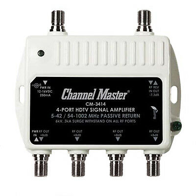 Channel Master 3414 Mini Distribution Drop Amplifier UHF/VHF Multi-Media CM3414
