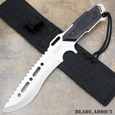 """12"""" Fixed Blade Tactical Combat Hunting Survival Knife w/ Sheath Bowie 6700-W"""