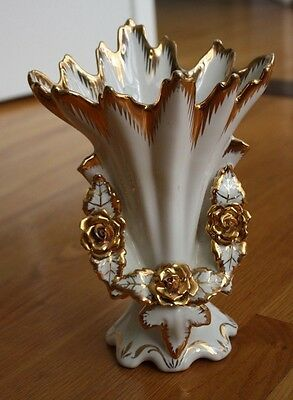 "COLLECTIBLE GOLD FLORAL VASE MADE IN PORTUGAL - 9 1/2"" TALL"