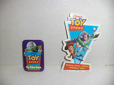 """Disney : Toy Story Lot of 2 Promotional Buttons : 3 1/2"""" Video & 2"""" Game Buttons"""