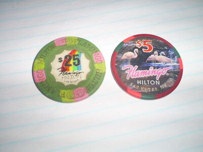 Flamingo Hilton $5 & $25 Flamingo 1995 issue casino chips