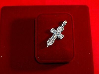 CLASSICAL RUSSIAN ORTHODOX CROSS, SILVER ,SAVE AND PROTECT CRUCIFIX open work