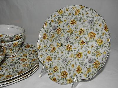 Vintage Napco 4 Scallop Shaped Lunch Plates 4 Cups Hand Painted #1DD322 Gold