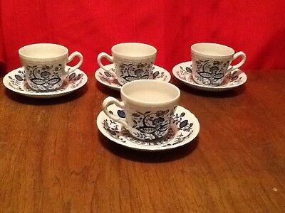 Enoch Wedgwood Tunstall Blue Heritage Set Of 4 Cups And 4 Saucers Blue Onion