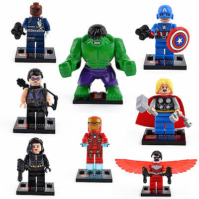 New 8 Sets Lots Minifigures AVENGERS FALCON HAWKEYE Figures Building Block Toys