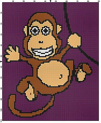 Monkey Baby Size Afghan Crochet Graph Pattern By Alta's Crafts