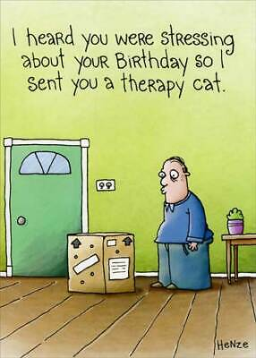 Therapy Cat Funny Birthday Card - Greeting Card by Oatmeal Studios