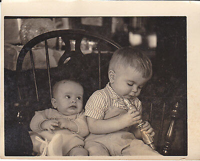 Vintage Snapshot Photograph Two Cute Young Little Kids Boy Baby Play Chair 1950s