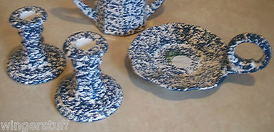 Blue Spongeware Set of Candlestick Holders and Candle Pedestal Thumb Plate