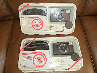Two (2) Ansco 1040 compact 35mm camera with flash & case n.i.b., n.o.s. Vintage