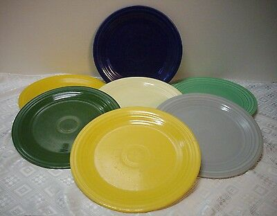 "VINTAGE ORIGINAL FIESTA DINNER PLATES (x7) IN ALL)( 9 1/2"") MIXED COLOR LOT"