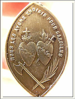 ANTIQUE 1900s FRENCH OL of GOOD HELP - BOTH TWO SACRED HEARTS MARY & JESUS MEDAL