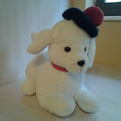 "Dakin Vintage Rare White Poodle with Beret and collar 10"" Plush"