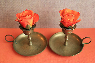 VINTAGE SET OF 2 CHINA BRASS FINGER LAMP CANDLE STICK HOLDERS