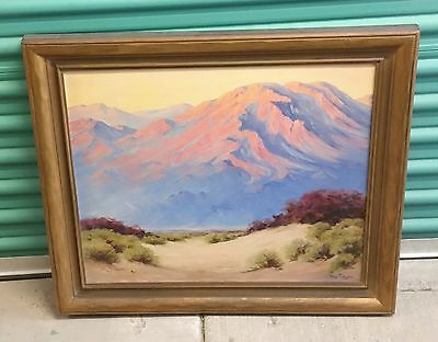 Antique Oil Canvas Painting Early California Impressionist Desert Landscape