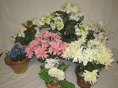 Lot of 7 Faux Plastic Flower Arrangements - In Planters & Baskets Spring Colors