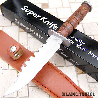 "9"" Tactical Combat Survival Fixed Blade Hunting Knife w/ Sheath Bowie 6814-W"
