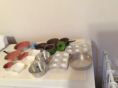 Vintage Children's Toy aluminum Cookware, Muffin Tins, Pans, Bakeware
