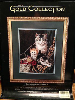 """Dimensions The Gold Collection #3818 """"Captivating Felines"""" Counted Cross Stitch"""