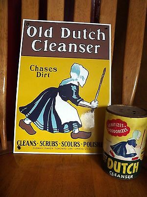 Vintage Old Dutch Cleanser 14oz Tin and Old Dutch Cleanser Sign