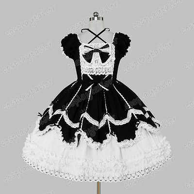 Classical Gothic Victorian Sweet Lolita Costume Frill Lace Dress Vintage Style