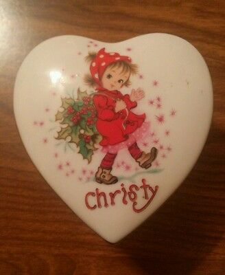 "Lefton China Hand Painted Heart Bowl Trinket ""Christy"" Girl with Holly"