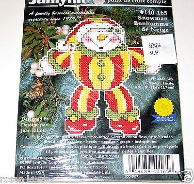 SNOWMAN Counted Cross Stitch Christmas Ornament Kit by Janlynn #140-165  NEW