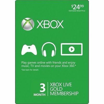 EMAIL DELIVERY! Xbox Live 3 Month Gold Membership